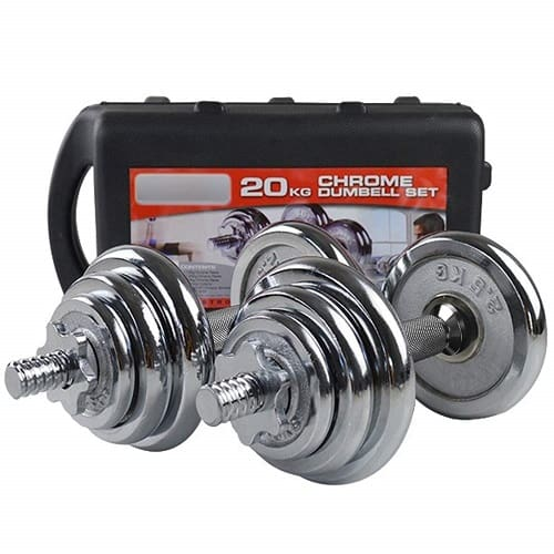Dolphy 20kg Chrome Iron Adjustable Fitness Dumbbell Set for Home Gym