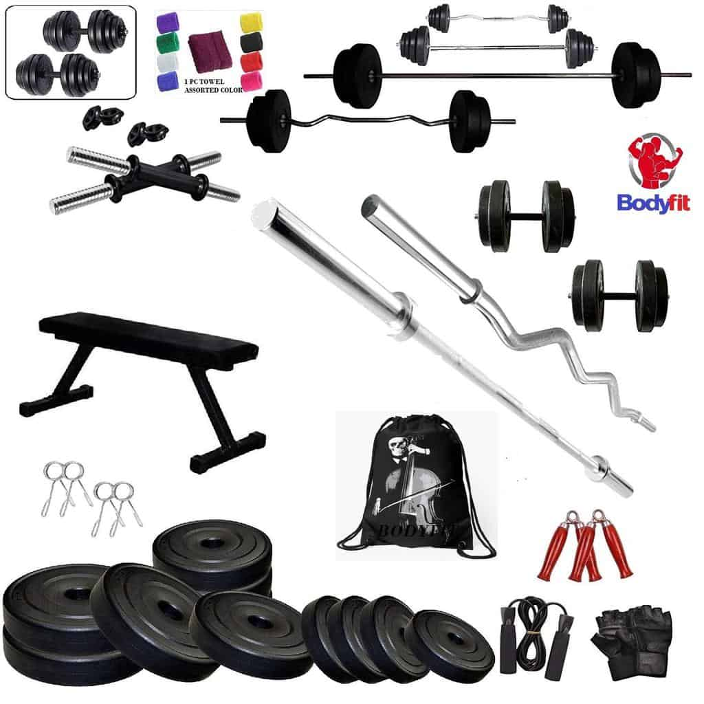 5. BODYFIT Home Gym Combo Set: Flat Bench with 50 KG Weight Plates + 4 RODS