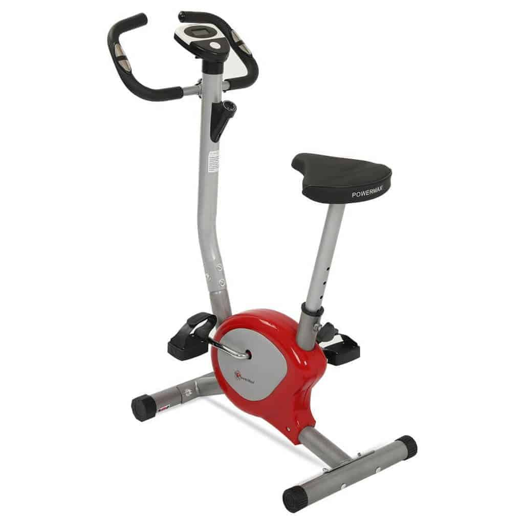 PowerMax Fitness BU 200 Exercise Upright Bike with Anti Skid Pedals