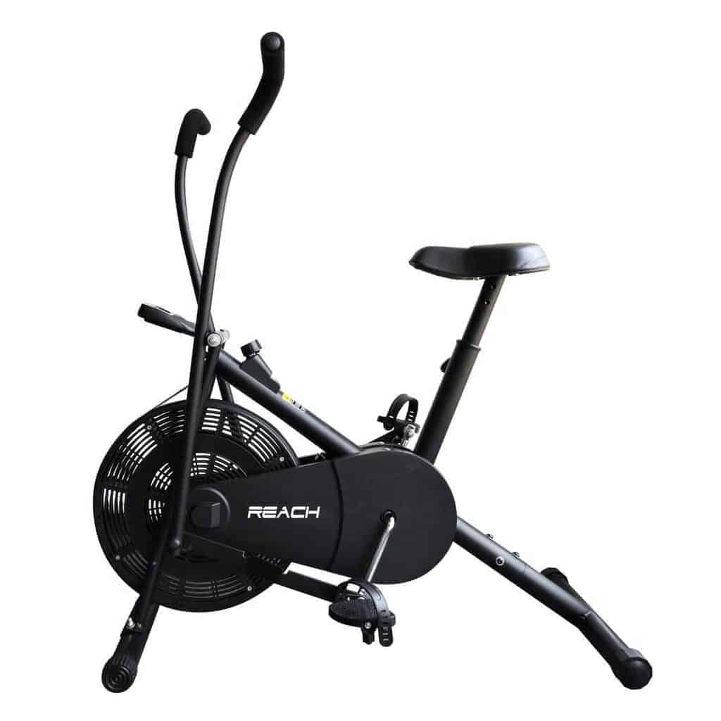 Reach Air Bike Exercise Cycle With Moving Handles Adjustable Cushioned Seat Multi color